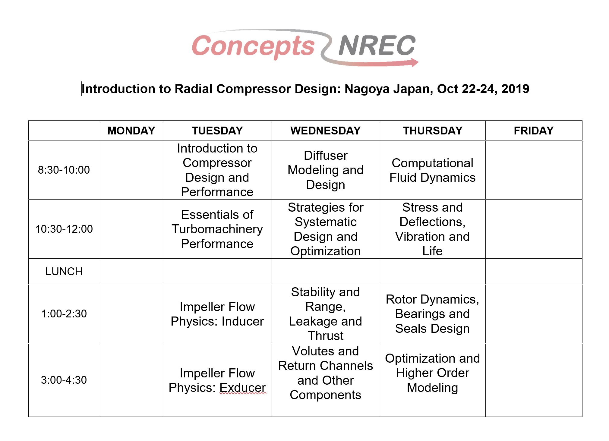 2019 Radial Compressor Course - Japan