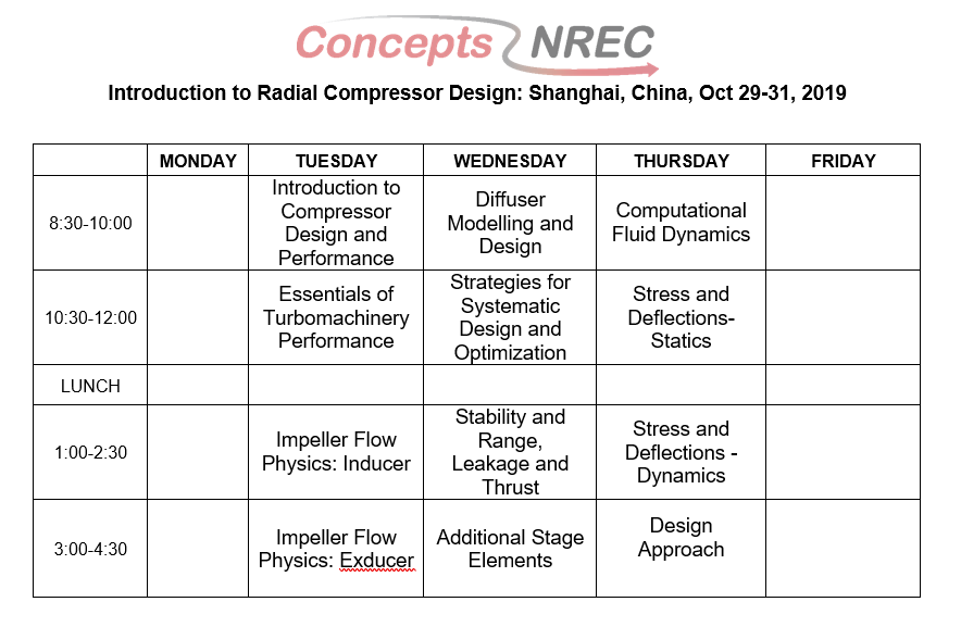 course schedule China
