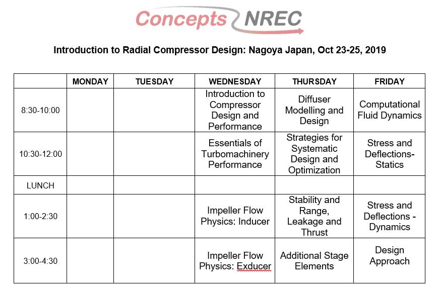 course schedule Japan