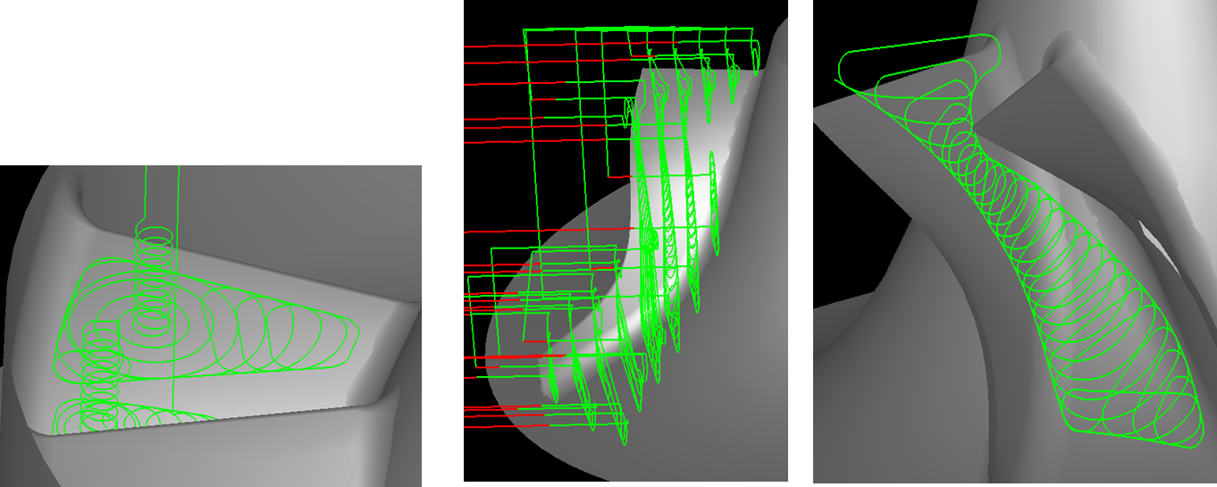 Three views of 3+2 Roughing Module for MAX-PAC CAM software
