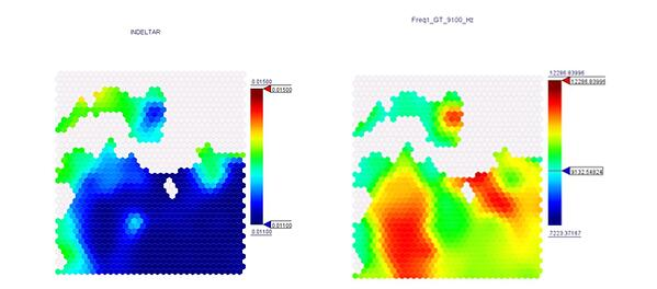 Self-Organizing Maps for Inlet Blade Height and 1st Natural Frequency