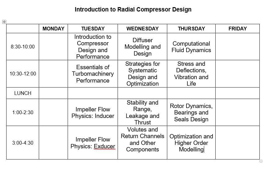 Radial Compressor Calendar Agenda-1