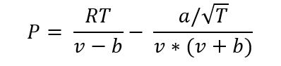 The formula for the Redlich–Kwong model