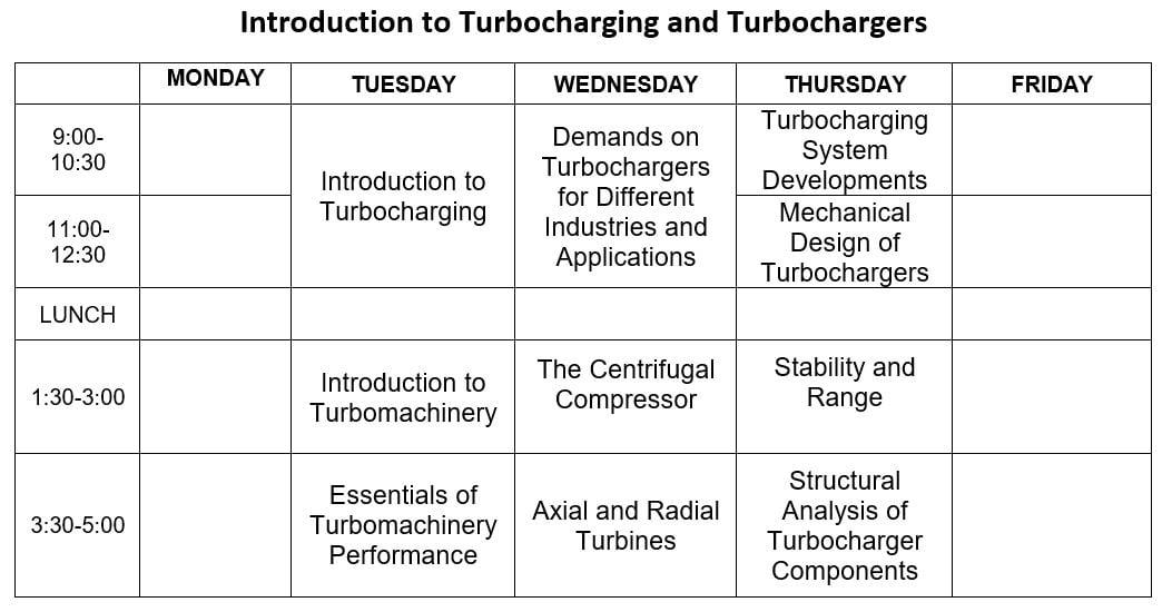 Turbocharger Calendar Agenda