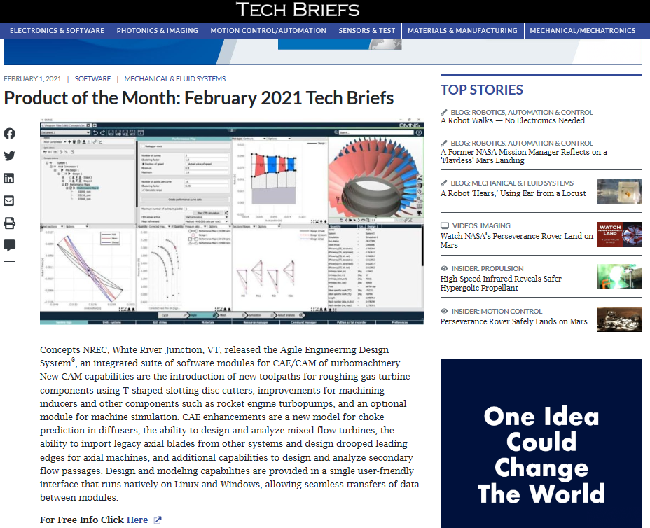 SAE Tech Briefs Product of the Month in February